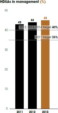 HDSAs in management (%) [graph]