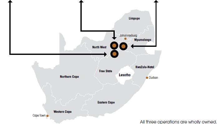 Sibanye operations map