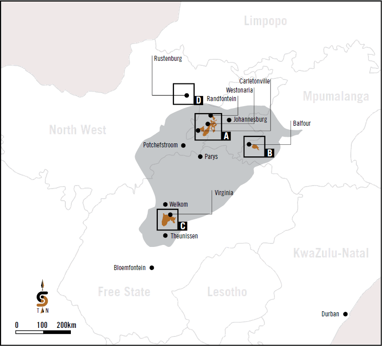 Location of group operations and projects in South Africa
